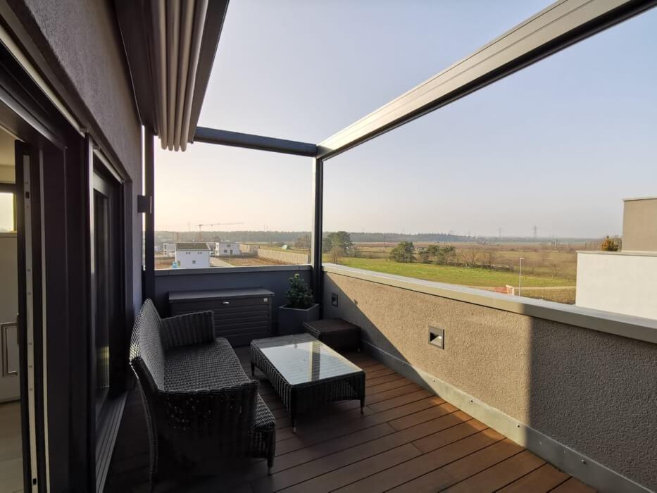 Balkon Aussicht Sonnenuntergang Markise Überdachung
