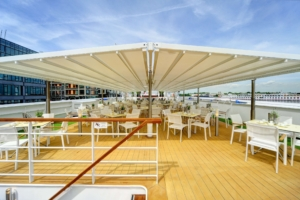 Boot Dach Gastro Schirm weiß