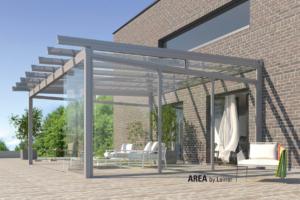 Glas Holz Überdachung Sommer Sonne