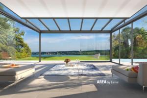 Glas Dach Wiese Aussicht See