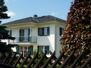 Haus Garten Zaun Fassade Klappläden grün