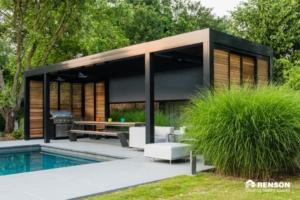 Holz Überdachung Pool BBQ