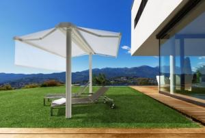 Sonnenschirm Markise Haus See Ausblick Sommer